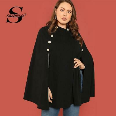 f6a607cf98d Sheinside Black Plus Size Ponchos Double Breasted Front Cape Coat Women  Autumn J