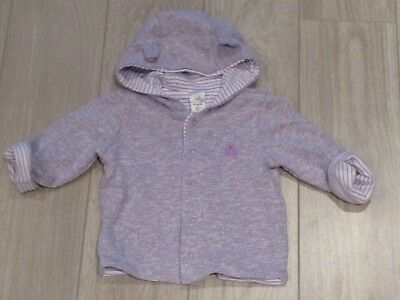 Baby Gap Girls Reversible Bear Hoodie Sweatshirt Purple 3-6 Mos.