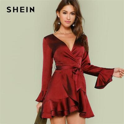35415d240ce SHEIN Burgundy Party Solid Split Back Ruffle Trim Overlap Front Cut Out  Belted D