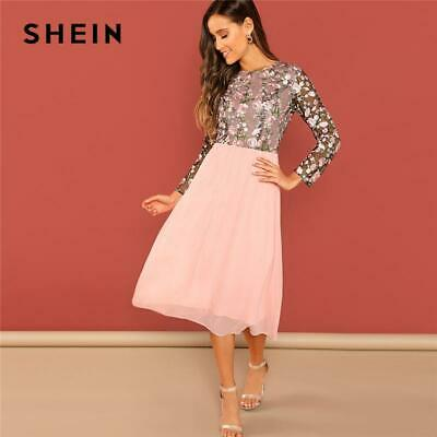 ee72c368b1 SHEIN Going Out Pink Flower Embroidered Contrast Mesh Bodice Round Neck  High Wai