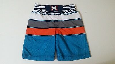 9c471157f4 Cherokee Boy's size XS Stripes Swim Trunks ~ Blue/Orange/White/Gray NWOT