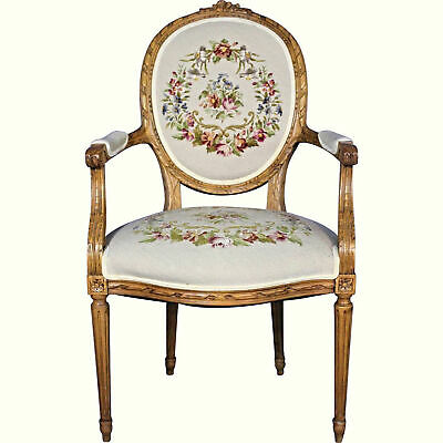 Louis XVI French Style Needlepoint Armchair Provincial Fauteuil Bergere Chair