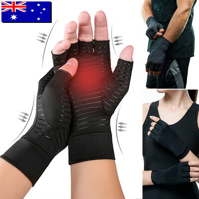 A Pair Compression Copper Arthritis Gloves Hand Wrist Support Pain Relief Brace