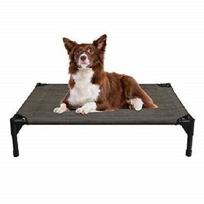 Dog Bed Medium Brown-Mesh Elevated Raised Pet Cot Indoor Outdoor Use No-Slip