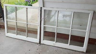 Architectural Salvage ANTIQUE WINDOW SASH FRAME,  34x28 set of 2 GLASS REMOVED