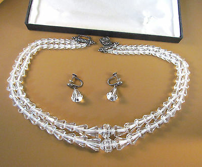 Antique Peruzzi Carved Rock Crystal Quartz Sterling Necklace & Earrings Boxed