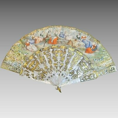 Antique Two Sides Hand Painted European Fan Mother of Pearl Sticks France