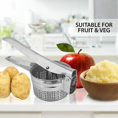 Stainless Steel Hand Held Potato Ricer Masher Smooth Fruit Vegetable Food Press