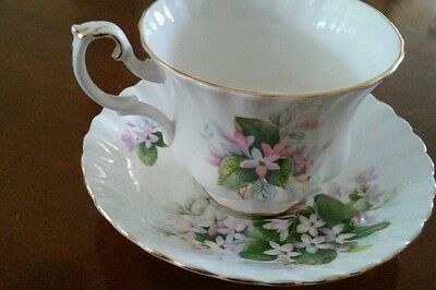 Vintage ROYAL ALBERT Bone China Teacup & Saucer -MAYFLOWER Pattern England