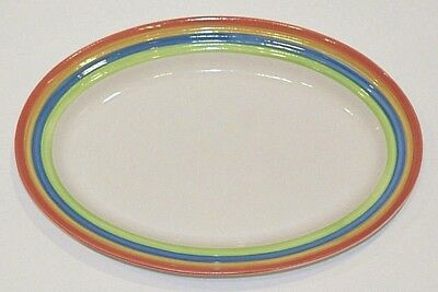 Gibson Designs Rainbow Stripes Oval Serving Platter Plate - 12 x 8""