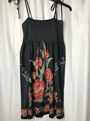 9c8af010258 FLYING TOMATO Sun Dress Size Large Black With Red Floral Print Spaghetti  Strap