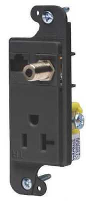 JLOAD MM OUTLET 20A TR BLACK - Coax/Ethernet/Recepaicle