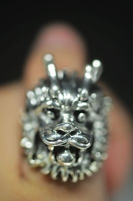RARE HANDWORK OLD MIAO SILVER CARVE ROARING LION HEAD ANCIENT EXORCISM RING NE