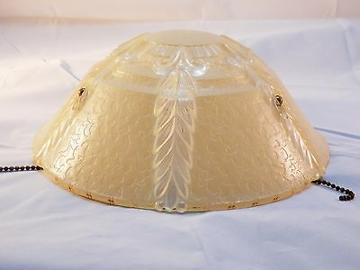 Vintage 3 Chain Victorian Art Deco Beige Ceiling Light Lamp Shade*Free Shipping*