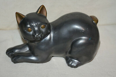 Primitive Cast Iron Playing Cat Figurine Silver and Brass Tone