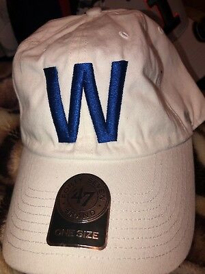 """size 40 c6e24 26214 Chicago Cubs  47 Brand Clean Up Hat MLB Adjustable Cap Curved Visor New """"W"""