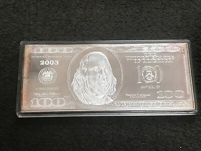Series 2003 $100 Federal Reserve Note Franklin .999 Fine Silver 4 oz. Bar