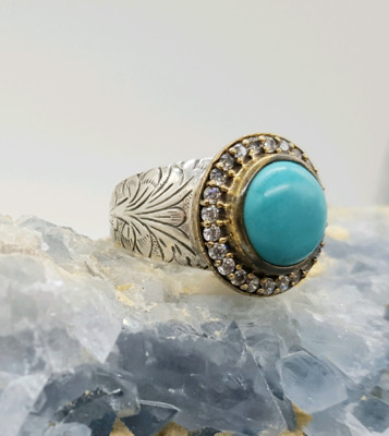 2 tone Ring, Blue Turquoise, size 9, 925 Sterling Silver, NEW 💙