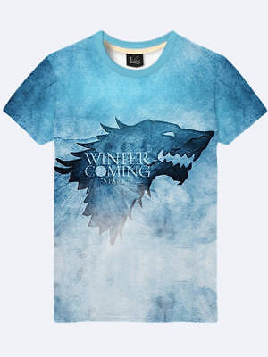 2019 Game of Thrones  WINTER IS COMING Direwolf Wolf 3D simbol sign T-Shirt new