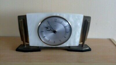 Vintage Original Art Deco Square Onyx and Chromium Mantel Clock AF