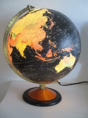 Vintage Scanglobe GLOBE Atlas with Light Made in Denmark 40cm Tall Black