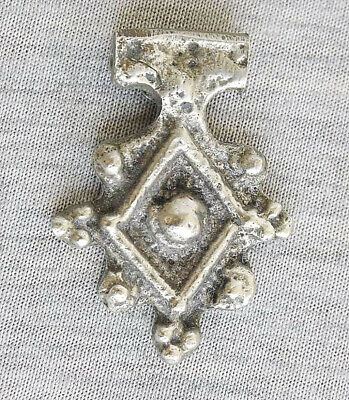 Antique Ethiopian Coptic Silverplated Cross Amulet Pendant Hand crafted hammered