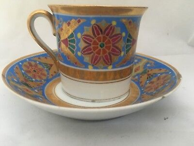 ANTIQUE IMPERIAL RUSSIAN PORCELAIN CUP&SAUCER from GOTHIC SERVICE ST.PETERSBURG