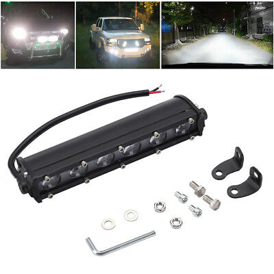 60W 7''Inch 6LED Work Light Bar Ultra Thin Single Row Spot Beam Off-road Car SUV