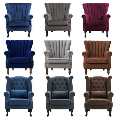 UK Linen Velvet Leather Tub Chair Wing Back Fireside Fabric Lounge Armchair Sofa