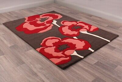 Ultimate Poppie Red Black Wool Luxurious Floral Poppy Rug in various sizes