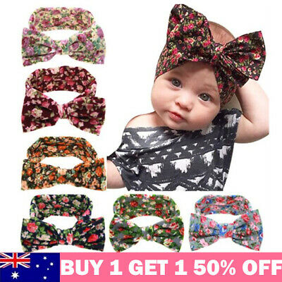 Baby Soft Floral Bow Head Wrap Turban Top Knot Headband Newborn Girl Accessories