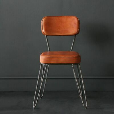 Excellent Hairpin Industrial Dining Chair Buffalo Leather Upholstered Alphanode Cool Chair Designs And Ideas Alphanodeonline