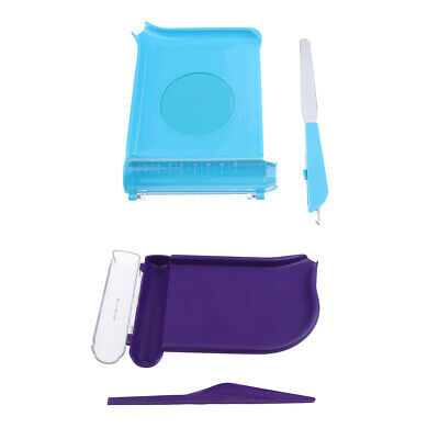 Pill Counting Tray with Spatula Non-slip Bottom Purple Blue
