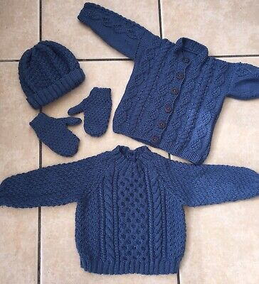 Hand Knit Baby Boys Collection Age 12-18 Months Jumper Cardigan Beanie Mitts