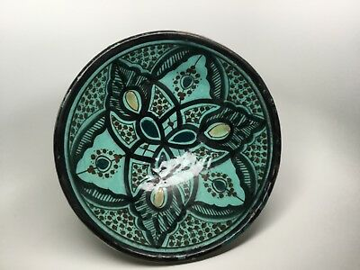 Antique SAFI Moroccan Hand Paint Silver Rim/Base Art Pottery Footed Bowl SIGNED