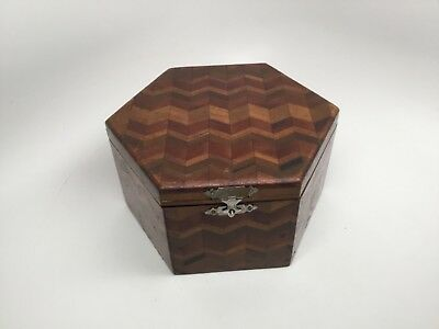 Antique Handcrafted Inlaid Marquetry Wood Box - Six Sides - Hinged Lid