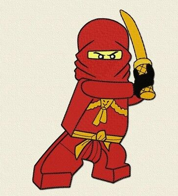 Red Ninja Machine Embroidery Design. Digitized Embroidery files Ninjago Lego DST