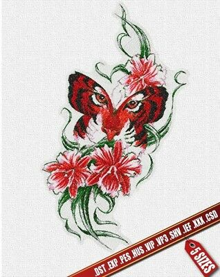 Butterfly-tiger embroidery pattern. Digital machine embroidery files PES DST JEF