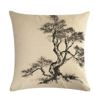 Ink Tree Painting Household Sofa Cushion Cover Cotton Linen Chic Pillow Case 6A