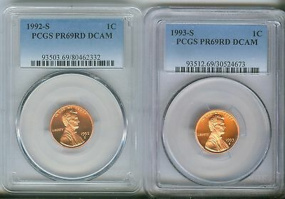 1992-S, 1993-S 1C DC (Proof) Lincoln Cent PCGS PR69RD DCAM 80462332,30524673