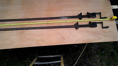 Lot Of 2 Vintage Antique Simmons Hardware  Co. 72''  Wood Workshop Bar Clamps