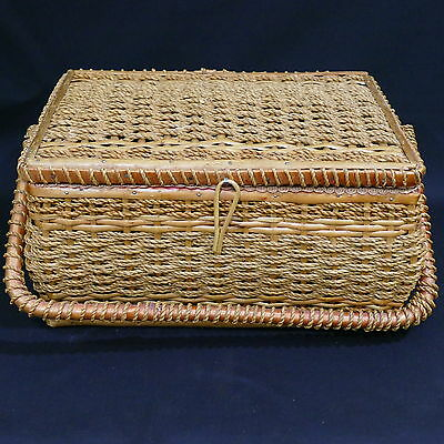 Vintage Wicker Sewing Basket w/ Tray & Red Satin Lining  ~ 8020T Germany US Zone