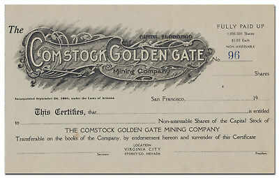 Comstock Golden Gate Mining Company Stock Certificate