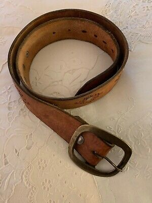 VTG Women's Tooled Brass Buckle Leather Belt 32""