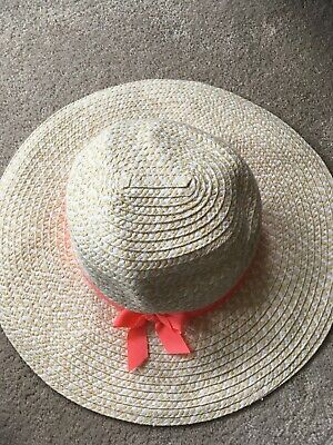 NWT New Woven White Bow Beach Straw Hat Gymboree Girls Size 3-6 months