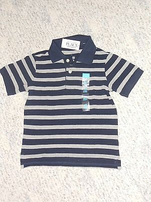 NWT - Childrens Place short sleeved navy blue & grey striped polo shirt - 4T
