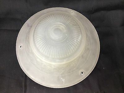 "Vintage 10"" Floral Frosted Glass Light Shade Fixture Ceiling Hanging Repurpose"