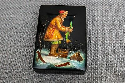 """Russian Black Lacquer Box, Fedoskino by Andushkin Ice Fishing in Snow, USSR 4.2"""""""