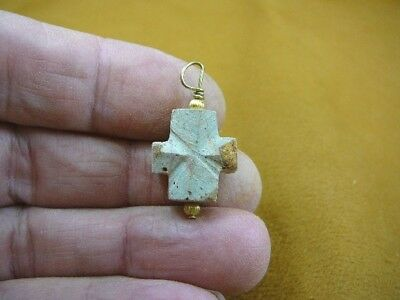 "(CR502-78) 3/4"" Fairy Stone Pendant CHRISTIAN CROSS Staurolite Crystal religious"