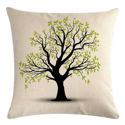 Tree Flower Painting Household Sofa Cushion Cover Cotton Linen Pillow Case 6A